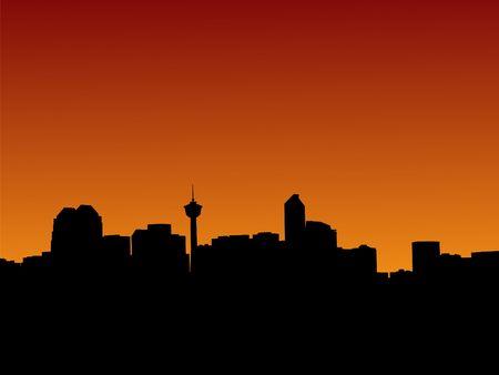 calgary: Calgary skyline at sunset with colourful sky illustration