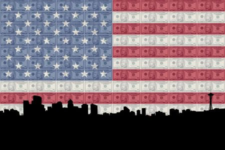 greenbacks: Seattle skyline with ten dollar bills and American flag Stock Photo