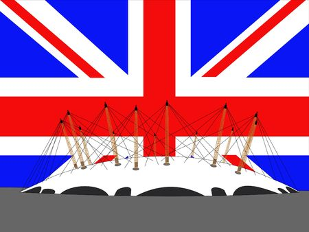 meridian: Millennium dome, London and British flag illustration