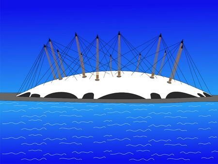 river thames: Millennium dome and river Thames with blue sky, London Stock Photo