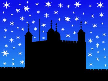 Torre de Londres en invierno con la ca�da de nieve ilustraci�n Foto de archivo - 1342474