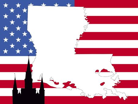 map of Louisiana on American flag with St Louis cathedral photo