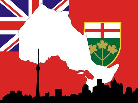 building cn tower: Province of Ontario on their flag with Toronto skyline