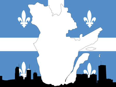 montreal: Province of quebec on their flag with montreal skyline