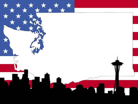 seattle skyline: map of Washington on American flag with Seattle skyline