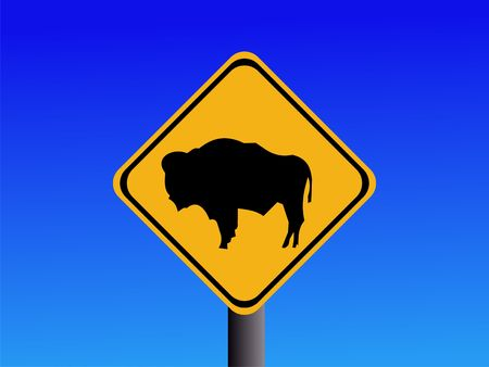 symbol vigilance: warning bison sign on blue sky illustration