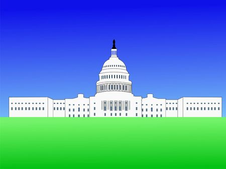 us capitol: US capitol building Washington DC with blue sky illustration