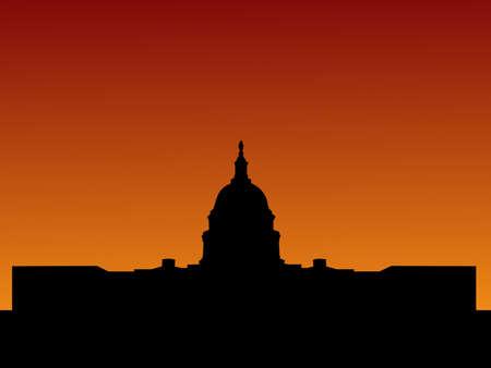 capitol: US capitol building Washington DC at sunset illustration