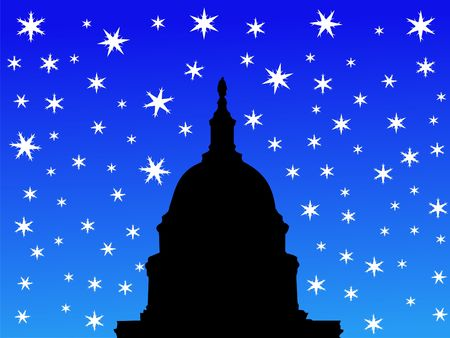 iciness: dome of US capitol building Washington DC in winter
