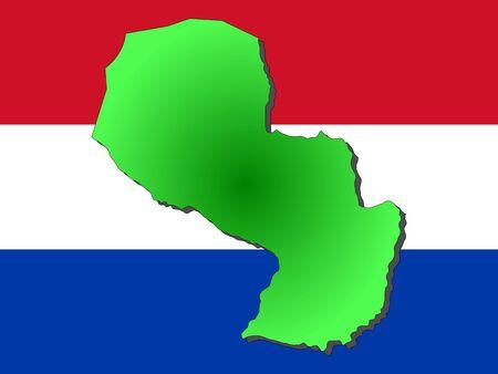 paraguayan: map of Paraguay and Paraguayan flag illustration
