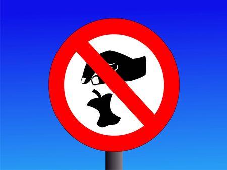 botar basura: ning�n signo tirar basura en la ilustraci�n cielo azul Foto de archivo