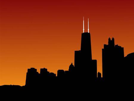 john: Chicago skyline at sunset including John Hancock tower