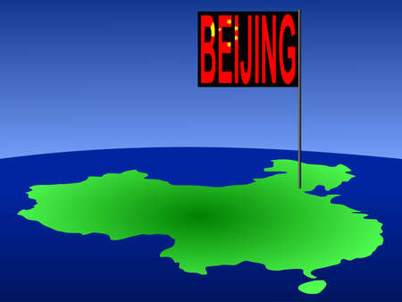 beijing: Map of China with Beijing Chinese flag