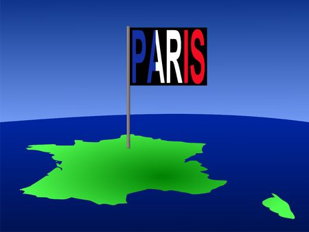 Map of France with Paris french flag photo