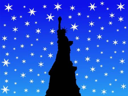 iciness: State of Liberty in winter with falling snow