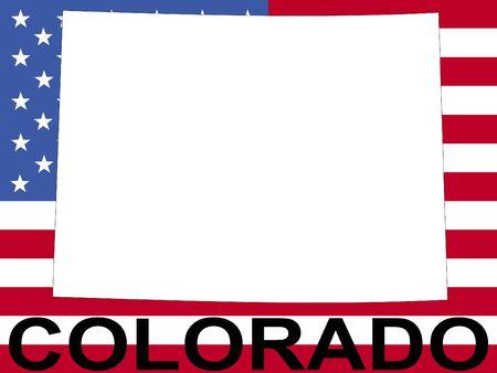 flag of colorado: map of Colorado on American flag illustration
