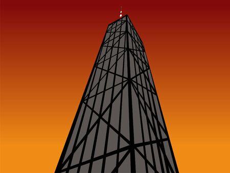 john hancock: John Hancock Tower Chicago at sunset with colourful sky