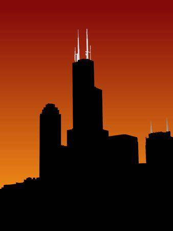 sears: Sears tower chicago at sunset with colourful sky