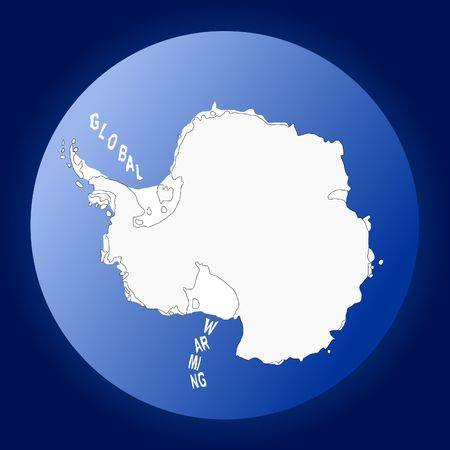 iciness: Map of Antarctica with icebergs spelling Global warming Stock Photo