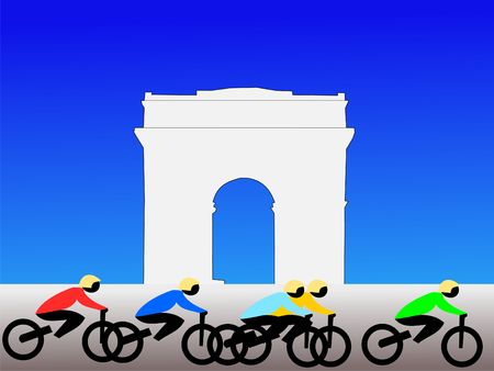 triomphe: Colourful people cycling past the Arc de Triomphe Paris France