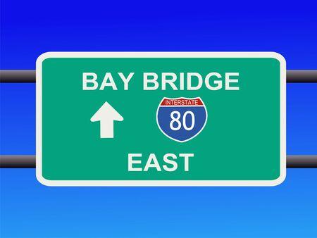 Bay Bridge Interstate 80 sign San francisco illustration illustration