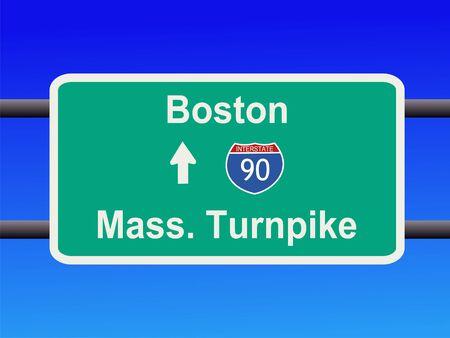 schlagbaum: Massachusetts Turnpike Interstate 90 Zeichen Illustration  Lizenzfreie Bilder