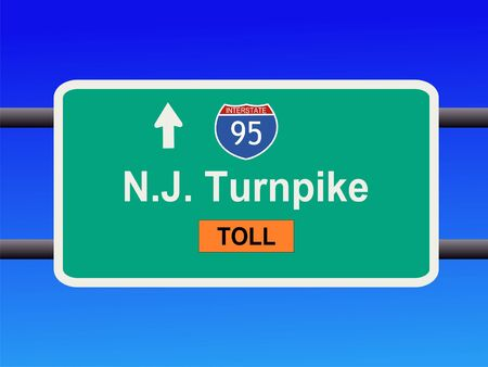 turnpike: New Jersey Turnpike Interstate 95 sign illustration