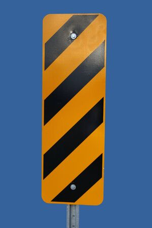 Black And Yellow Warning Stripes sign isolated on blue