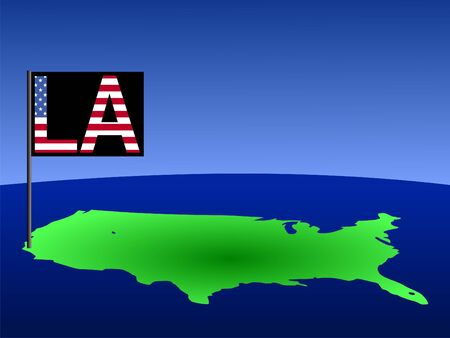 angeles: Map of USA with Los Angeles American flag illustration Stock Photo