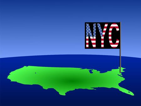 realm: Map of USA with New York City American flag illustration Stock Photo