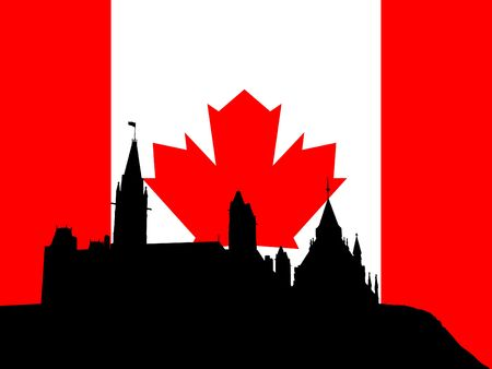 Canadian parliament Ottawa with flag of Canada photo