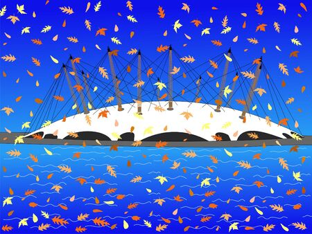 millennium: Millennium dome London in autumn with falling leaves