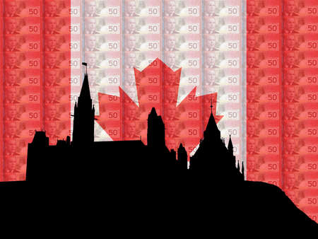 Canadian parliament Ottawa with flag and currency of Canada photo