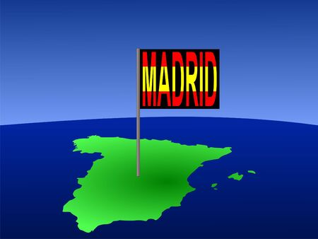 Map of Spain with Madrid Spanish flag Stock Photo - 1353400