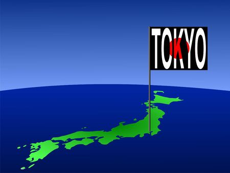 Map of Japan with Tokyo Japanese flag Stock Photo - 1353397