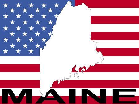 maine: map of Maine on American flag illustration