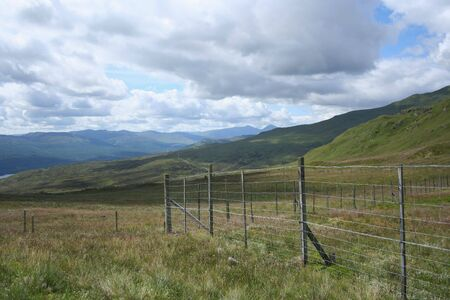 deer fence in Scottish mountains photo