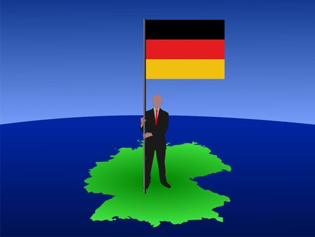 business man standing on map of Germany with flag photo