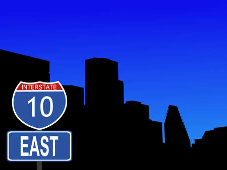houston: Houston with interstate 10 sign