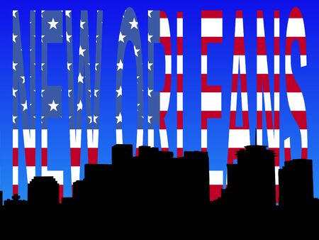 Downtown New Orleans skyline with American flag text photo