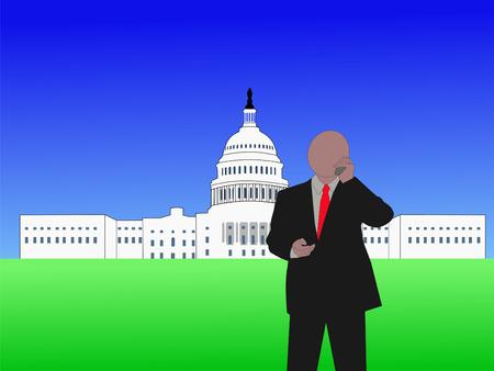 lobbying: Congressman talking on phone at capitol hill Washington DC Stock Photo