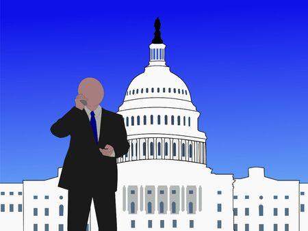 Senator talking on phone at capitol hill Washington DC Stock Photo