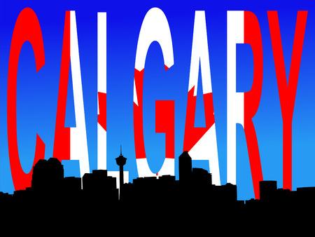 calgary: Calgary skyline against Canadian Flag illustration