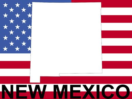 spangled: map of New Mexico on American flag illustration Stock Photo