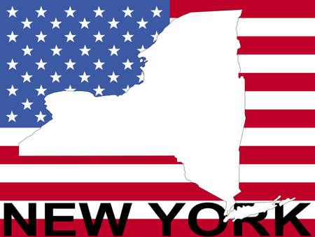 spangled: map of New York on American flag illustration