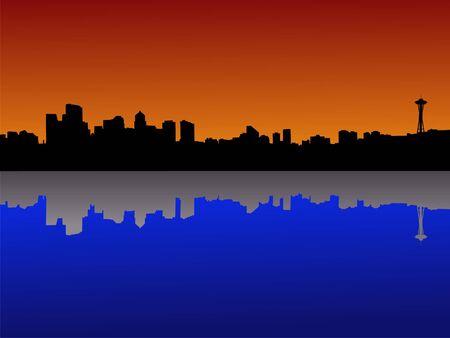 Seattle skyline at dusk reflected in lake Union Stock Photo - 1425100