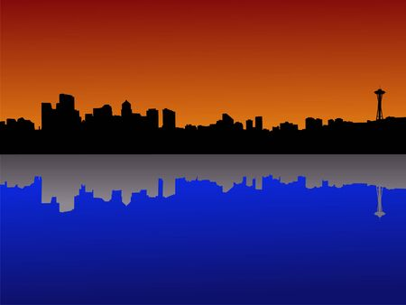 seattle skyline: Seattle skyline at dusk reflected in lake Union