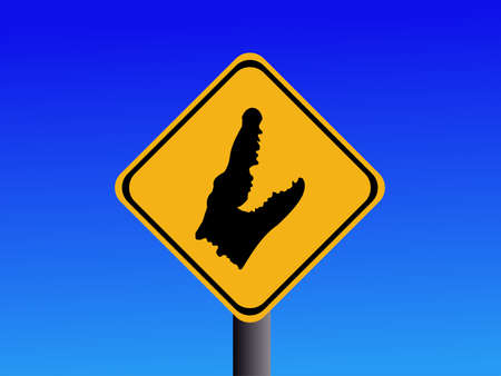 symbol vigilance: American warning Alligator sign against blue sky illustration
