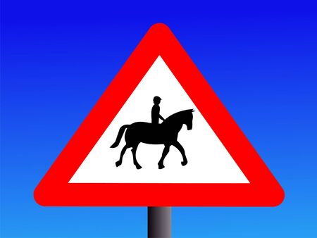 symbol vigilance: British attention horse riders road sign