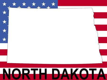 spangled: map of North Dakota on American flag illustration